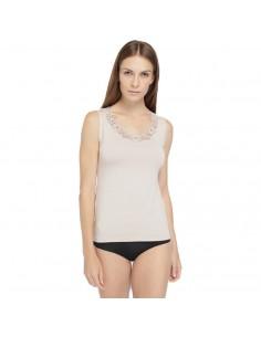 JANIRA camiseta de hombrera en modal Gardenia cta S/M